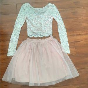 Dresses & Skirts - Juniors' Glitter Lace 2-Pc. Fit & Flare Dress
